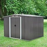 Kinbor 8' x 6' Outdoor Steel Garden Storage Utility Tool Shed Backyard Lawn Grey w/Door