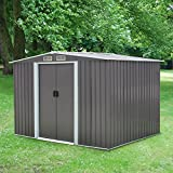 Peach Tree 8' x 6' Outdoor Backyard Metal Garden Utility Storage Shed Heavy Duty Tool House W/Sliding Door, Gray