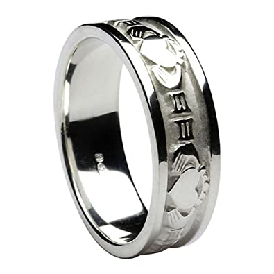 Mens Claddagh Irish Wedding Band Sterling Silver Size 8.5
