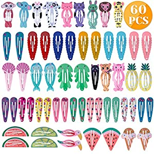 Anezus 60 Pcs Hair Clips Hair Barrettes Snap Clips Non-Slip Hair Barrettes with Animal Printed Pattern for Dogs Pets Hair Accessories 34