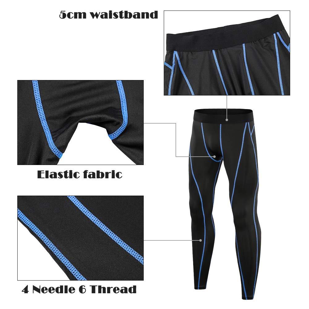 SKYSPER Homme Sportswear avec T-Shirt de Manches Longues et Pantalon de Compression Leggings Collant Combinaison dentra/înement pour Jogging Workout Football Cyclisme Fitness
