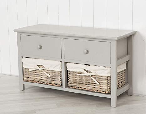 Hallway or Dining Room Bench with Wicker Storage Baskets and Seats HOMESCAPES Grey Three Seater Wooden Storage Unit