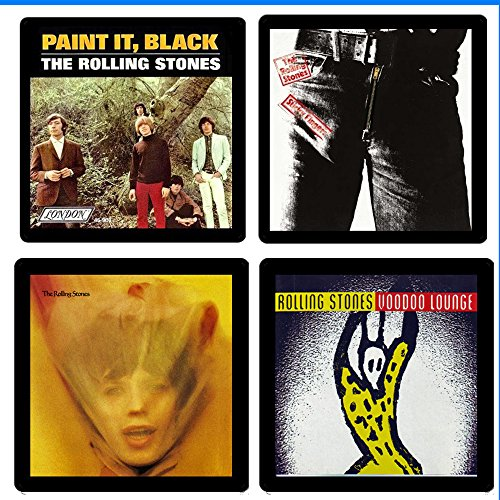 (Rolling Stones Collectible Coaster Gift Set #3 ~ (4) Different Album Covers Reproduced on Soft Pliable Coasters)