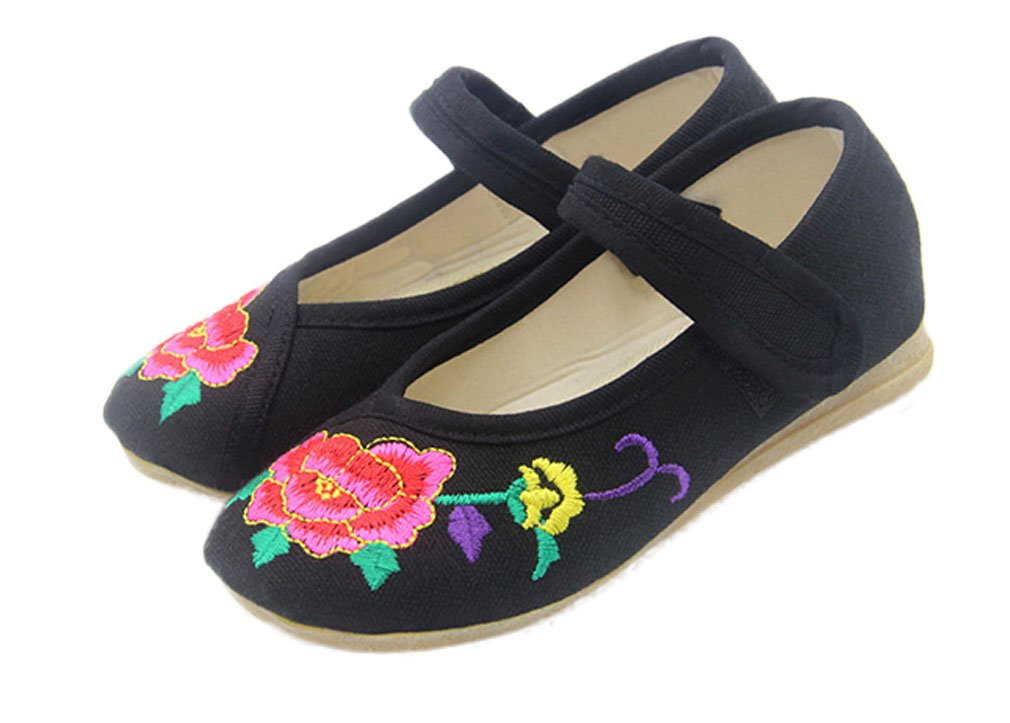 Soojun Girls Chinese Embroidery Oxfords Sole Mary Jane Flats (Little Kid), US 1.5 Black