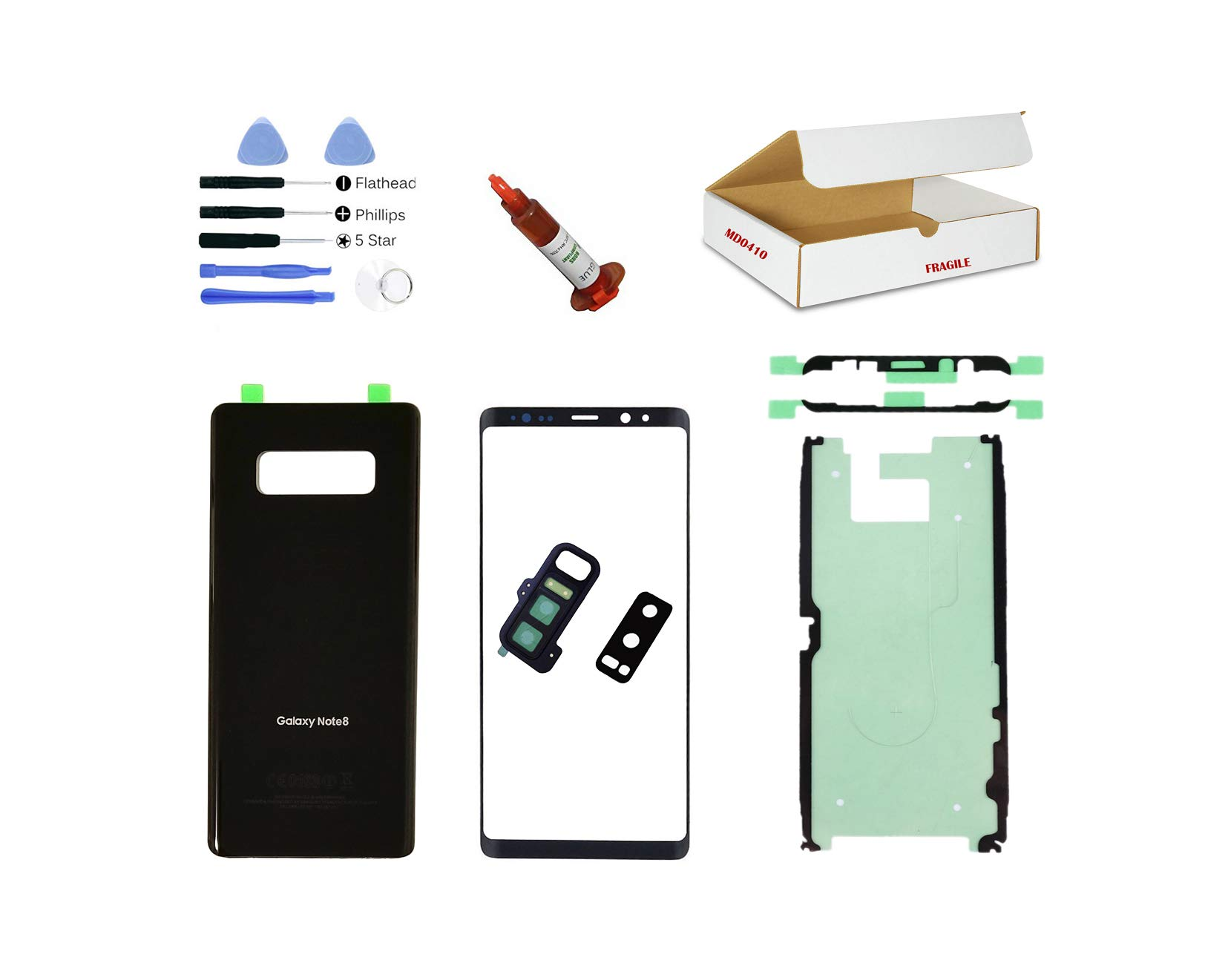 (md0410) Black Front Outer Glass Lens, Back Cover, Rear Camera Lens Frame Replacement Part Compatible for Galaxy Note 8 Phone Model N950 Repair Tools Kit (LCD Screen & Touch Digitizer Not Included) by md0410