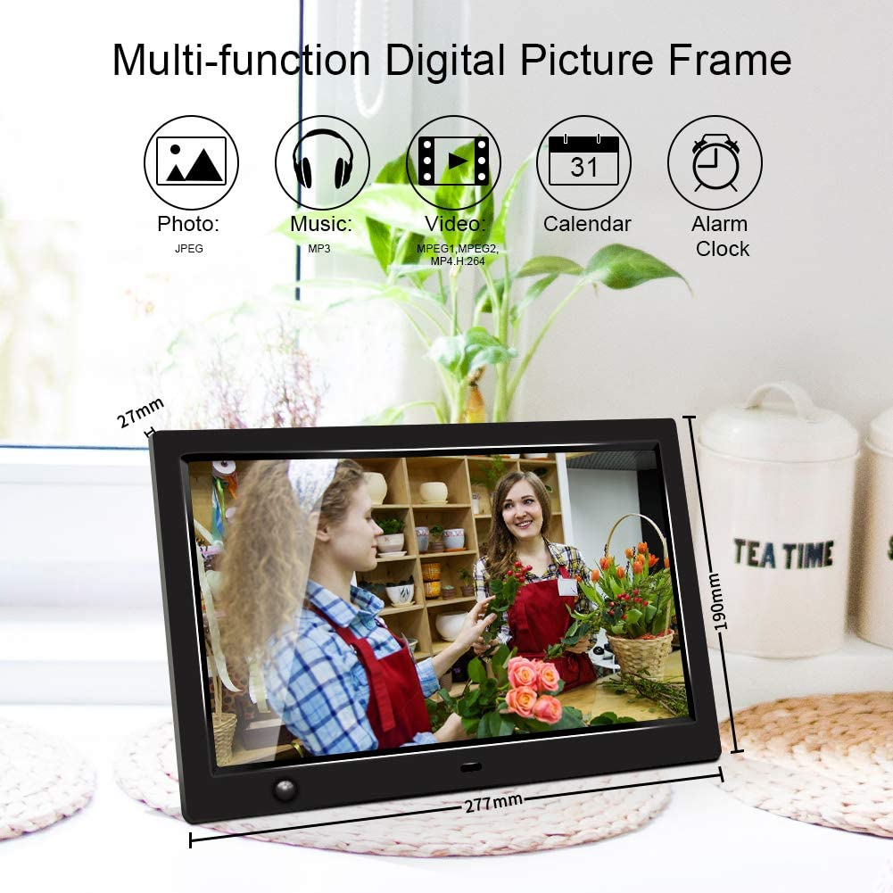 SD Card 10 inch IPS Screen Digital Photo Frame Support 1080P HD Video Player Timing Power On//Off USB Drive Background Music Jimwey Calendar Digital Picture Frame with Motion Sensor MP3