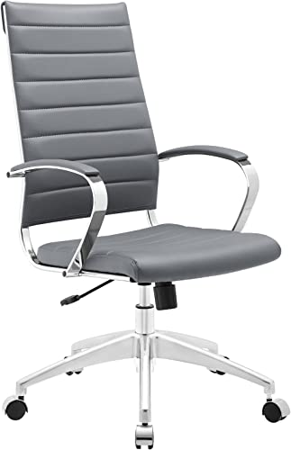 Modway Jive Ribbed High Back Tall Executive Swivel Office Chair With Arms In Gray