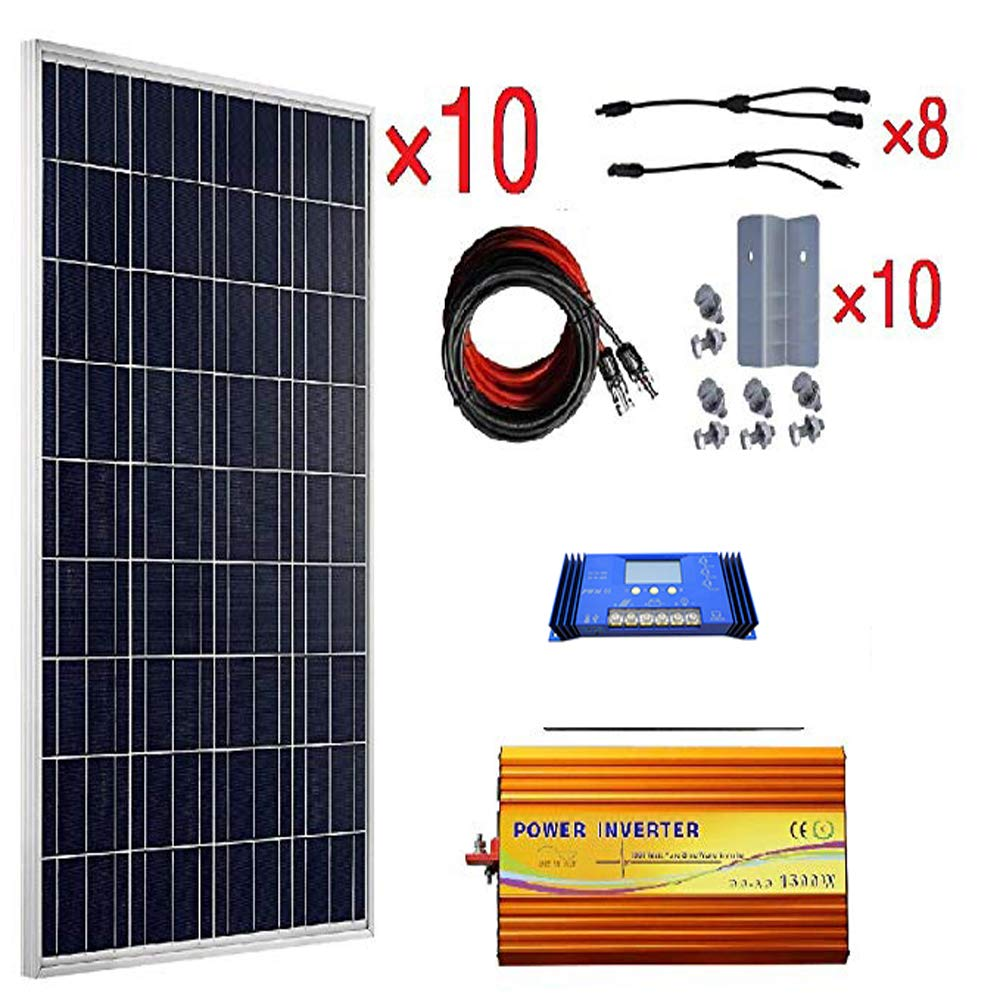 Eco Worthy 1kw 24v Polycrystalline Off Grid Solar Kit Simple And Wind Charge Controller Ne555 Ic Timer 10pcs 100w Poly Panels 60a 1500w Pure Sine Wave Inverter