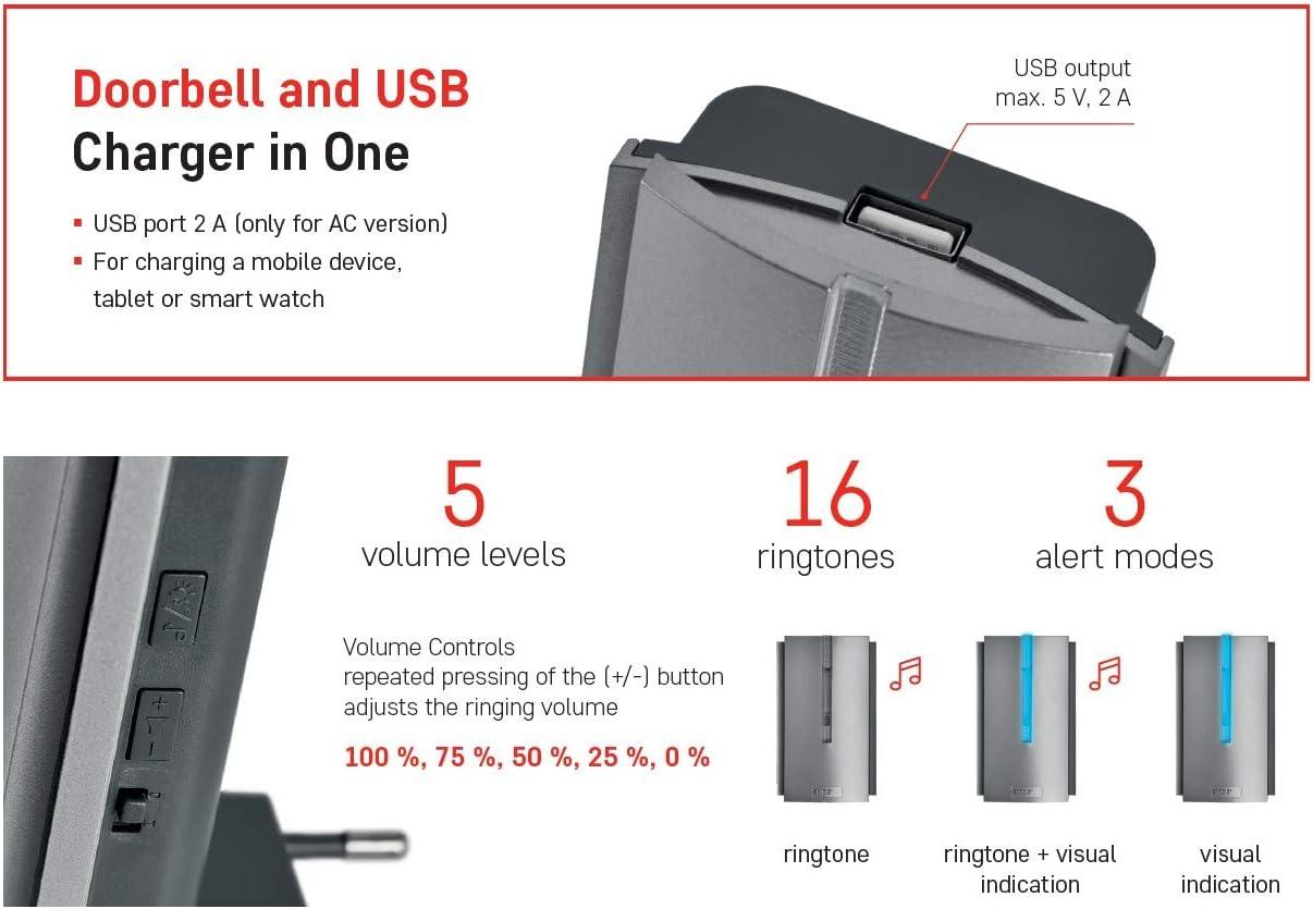 Emos P5760 Timbre inal/ámbrico con repetidor de Alcance Ilimitado y Salida USB 5 Niveles de Volumen hasta 85 dB//Pantalla LED funci/ón de Memoria 16 melod/ías