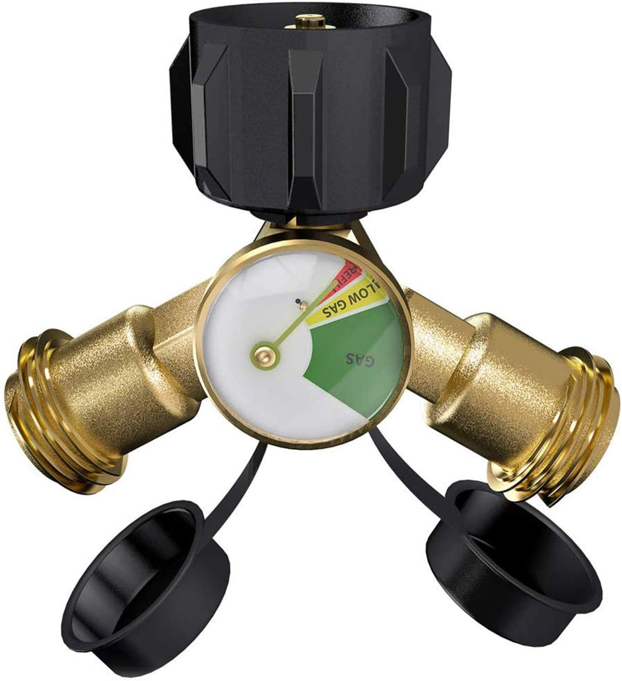 SHINESTAR Propane Y Splitter Tee Adapter with Propane Tank Gauge Level Indicator Leak Detector