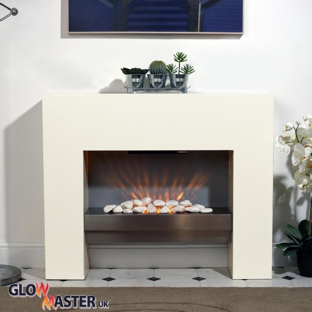 fire fireplace living room white free standing flicker flame