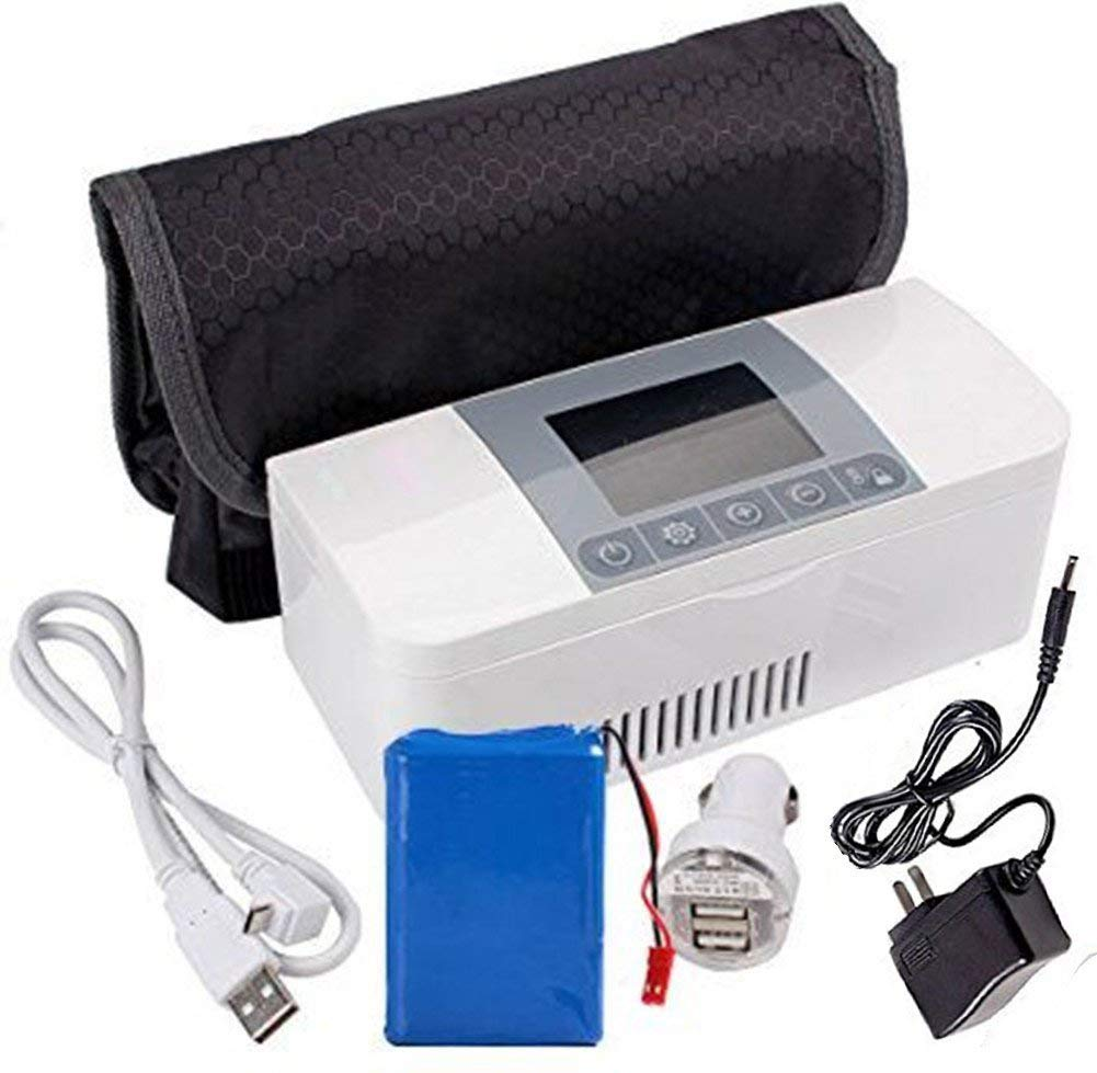 35.6-46.4℉ USB Insulin Cooler Case Portable Reefer Car Small Refrigerator for Insulin 8 hours Standby,Mini Insulin Cooler Car Refrigerator Keeps Diabetes Medication Cool and Insulated