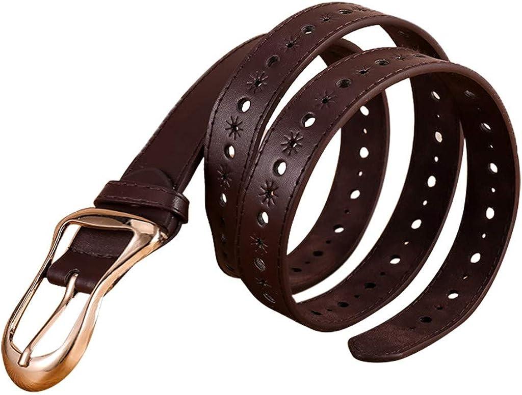 KUSUOU Moda Nueva Mujer Cuero Faja Hebilla De Metal Color Puro Cintur/óN Cintur/óN