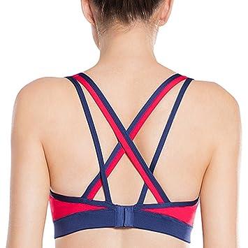 Yvette Mujer sujeción fuerte Cruz Espalda de sujetador deportivo para yoga fitness entrenamiento con absorbentes (
