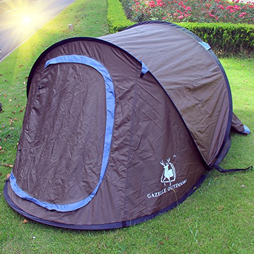 Large Pop Up Camping Hiking Tent Automatic Instant Setup Easy Fold back Shelter (Brown)
