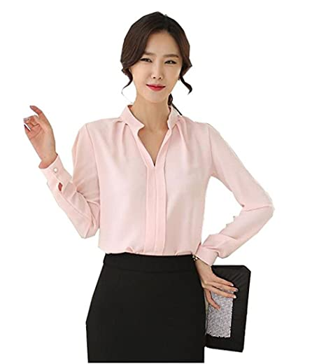 c5ac41d72b1b2 No brand Women V-Neck Long Sleeve Sheer Chiffon Shirt Blouse Tops Elegant  Solid Casual Shirts