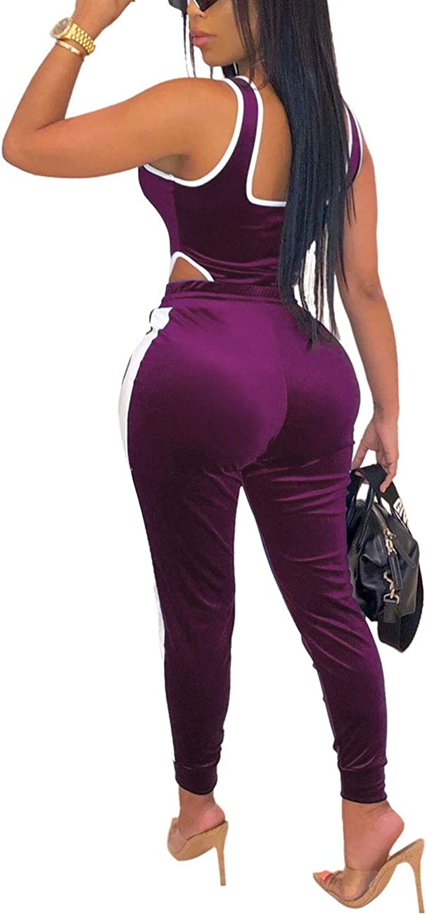 Sleeveless Bodysuit Tops Stretchy Long Pants Tracksuit Sets Womens Velvet 2 Piece Outfits