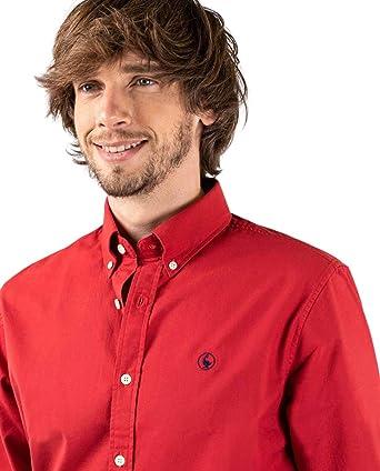 El Ganso Camisa Basket Weave Liso Rojo Casual: Amazon.es: Ropa
