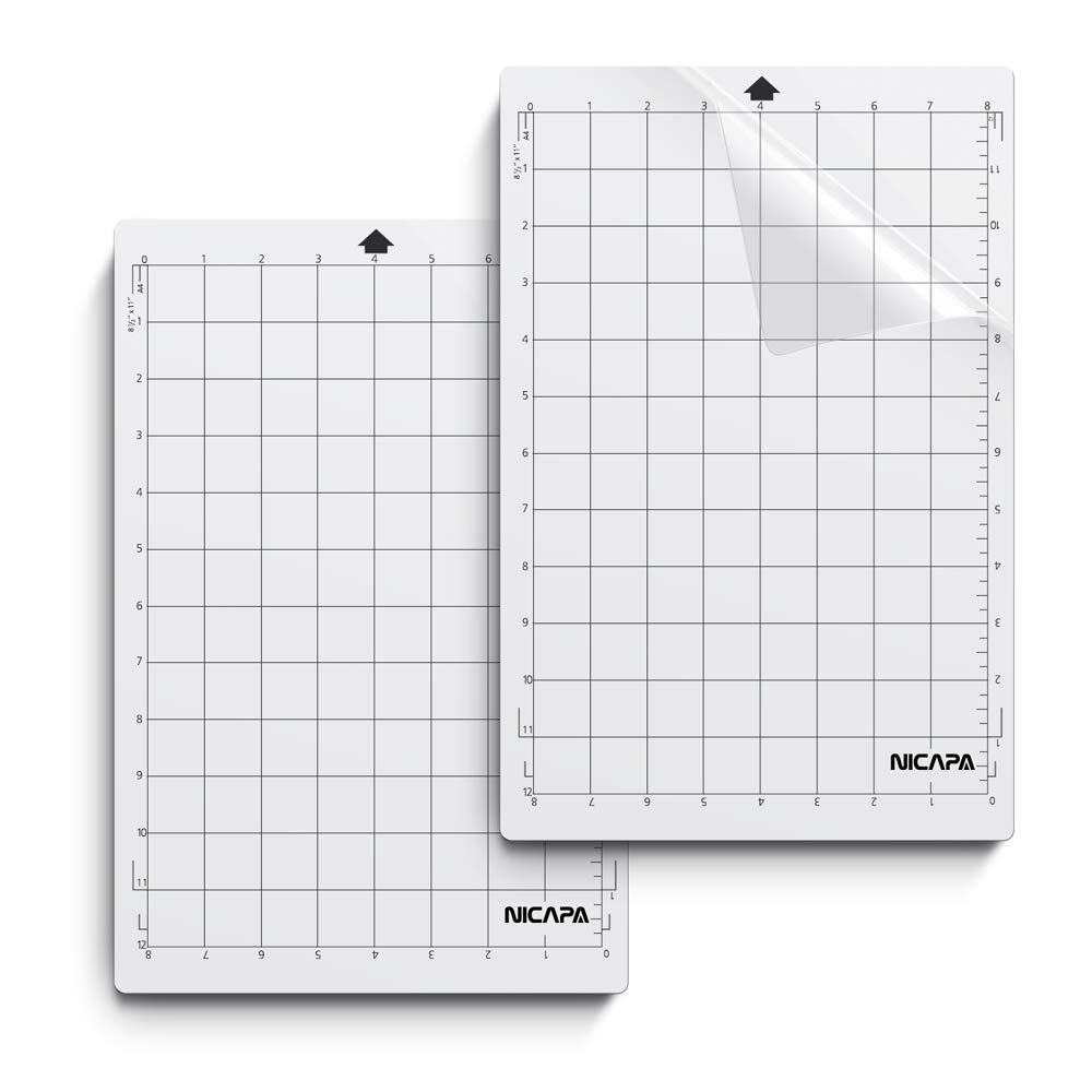 Nicapa Cutting Mat for Silhouette Portrait [Standardgrip, 8x12 inch 2pack] Adhesive&Sticky Vinyl Set Craft Sewing Non-Slip Flexible Gridded Cut Mats Replacement Matts Accessories Craft Sewing