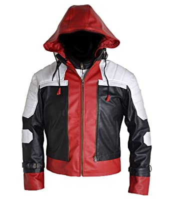 68ca58ca8ef HLS Batman Arkham Knight Red Hood Faux Leather Jacket + Vest XXS-5XL White  Red  Amazon.co.uk  Clothing
