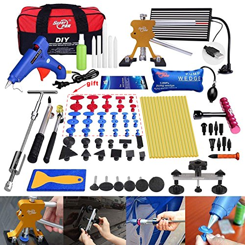 Fly5D 74 Pcs Body Paintless Black Starter Set Kits for Car Hail Damage and Door Dings Repair (Tools Repair Collision)