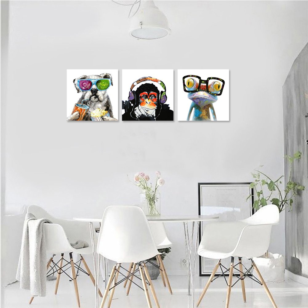 Animals Canvas Wall Art Modern Gorilla Monkey Music Oil Painting Wall Painting Happy Dog Frog Canvas Painting Home Decor Animal Prints 20 X20 X3