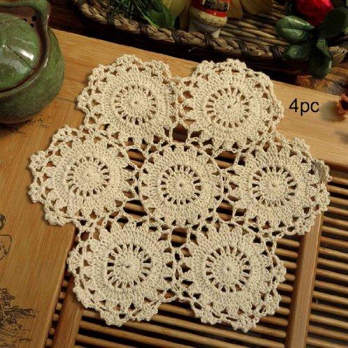 kilofly Crochet Cotton Lace Table Placemats Doilies Pack, 4pc, Beige, Blossoms, 10 inch