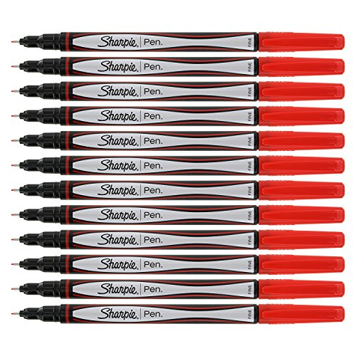 Sharpie Porous Point Pen, 0.8mm, Fine Point, Red Ink, (Ink Porous Point Pen)