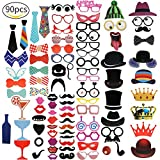 [90 Pcs] Photo Booth Props Kit, Sunzel DIY photo booth Fun Accessories for Wedding, Birthday, Party Supplies Decorations