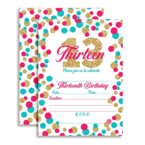 Confetti Polka Dot Thirteenth Birthday Party Invitations for Girls, 20 5