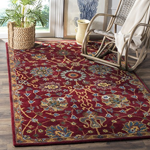 Safavieh Heritage Collection HG655A Handcrafted Traditional Red Premium Wool Area Rug (5' x 8')