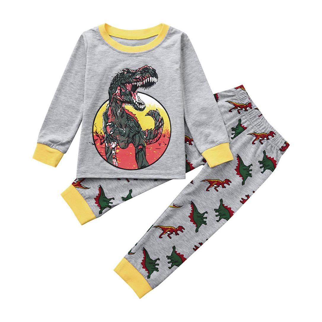 Kinlene Toddler Kids Baby Dinosaur Stampa maniche lunghe Top + Pantaloni Set di vestiti per bambini