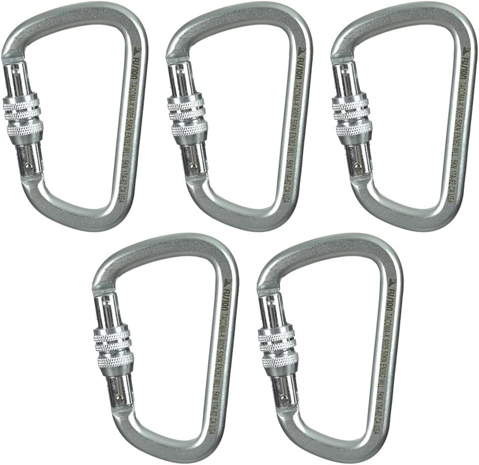 Fusion Climb Tacoma Steel Screw Lock Modified D-shaped Carabiner 10-Pack