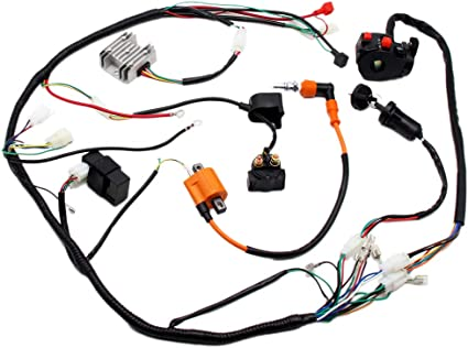 Quality 50-125cc Wiring Harness Loom Solenoid Coil Rectifier PIT Quad Dirt Bike