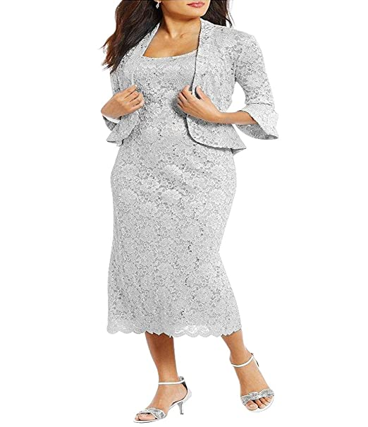 R&M Richards RM Richards Women\'s Plus Size Sequin Lace Midi Dress with  Jacket - Mother of The Bride Wedding Dresses