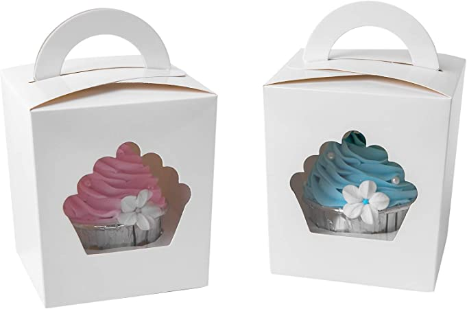 24pcs ONE MORE Single Mini Cupcake Boxes Individual Containers With Handle and PVC Window,Disposable Paper Cupcake Holders White