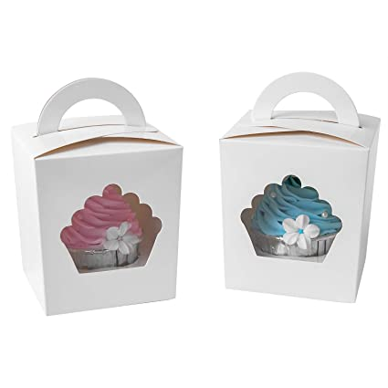 2fe6a154b5e1 ONE MORE Individual Cupcake Containers,Large Single Cupcake Boxes Carrier  with Insert & Handles and PVC Window For Birthday Party(White 15)