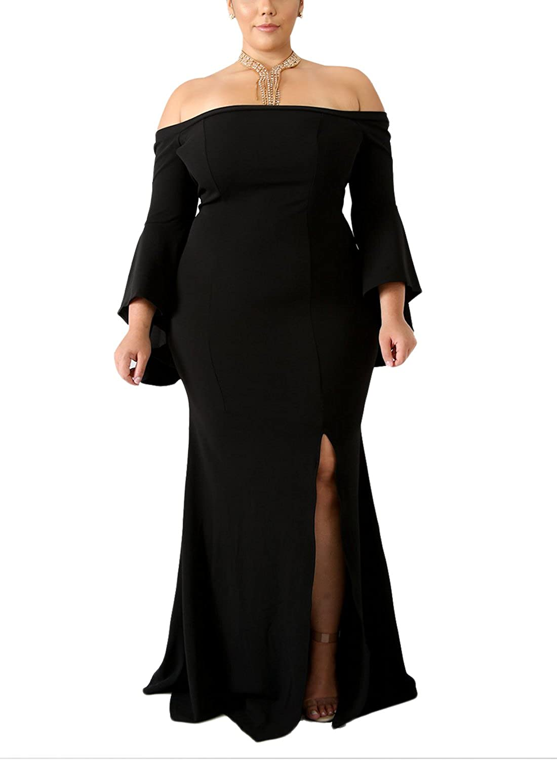34aa7255c6f Keep this plus size formal dress with shiny necklace and simple high heels.  Feature  Elegant mermaid design