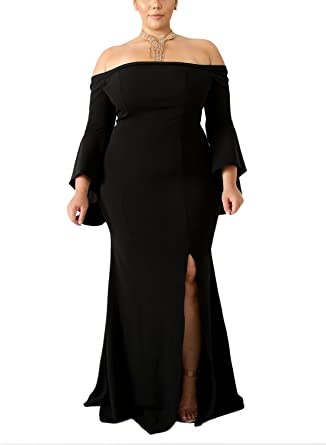 XMYXTX Women\'s Plus Size Off Shoulder Long Sleeve Long Slit Wedding Party  Mermaid Evening Dress Solid Color Gowns