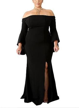 7b49da41c1fc Womens Formal Plus Size Dress Off Shoulder Long Dress High Slit Mermaid Evening  Gowns Maxi Long