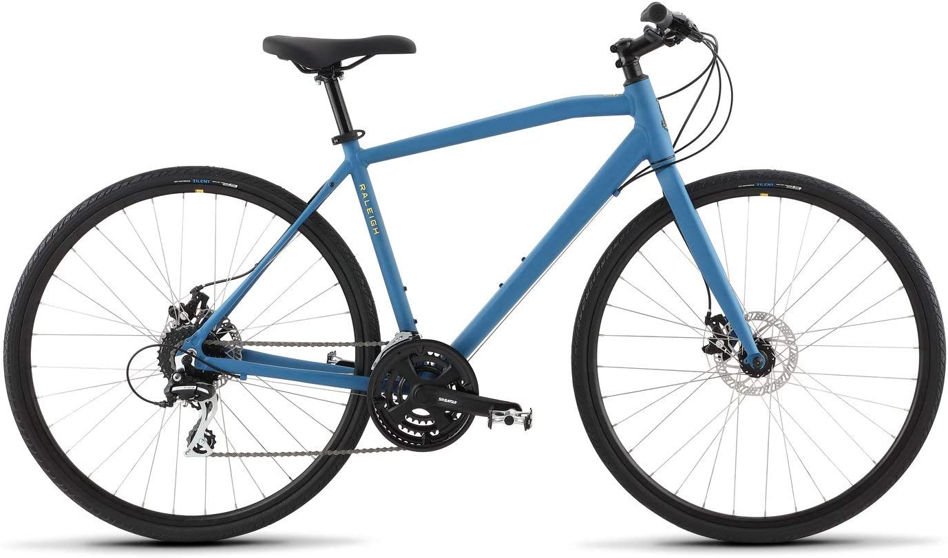 A light blue commuter bicycle by Raleigh