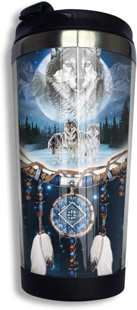 Indian Dream Catcher Wolf Stainless Steel Coffee Tumbler Travel Cup with Lid Vacuum Insulated Coffee Mug 13.5oz for Men & Women Home Office Camping