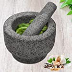 """Anzone Mortar and Pestle, Unpolished Granite,Spice Crusher ,5.9 Inch 11 Our finely designed solid set is made of genuine natural granite. Dimensions: 5.9 """" Diameter x 3.9"""" tall bowl,5.9"""" Pestle Length. The molcajete is used for effectively grinding, crushing, mixing, mashing herbs, spices, nuts, ginger, garlic and other assorted things to very fine powder or paste. Its heavy weight easily perform grinding. You can control the degree of crushing with ease.."""