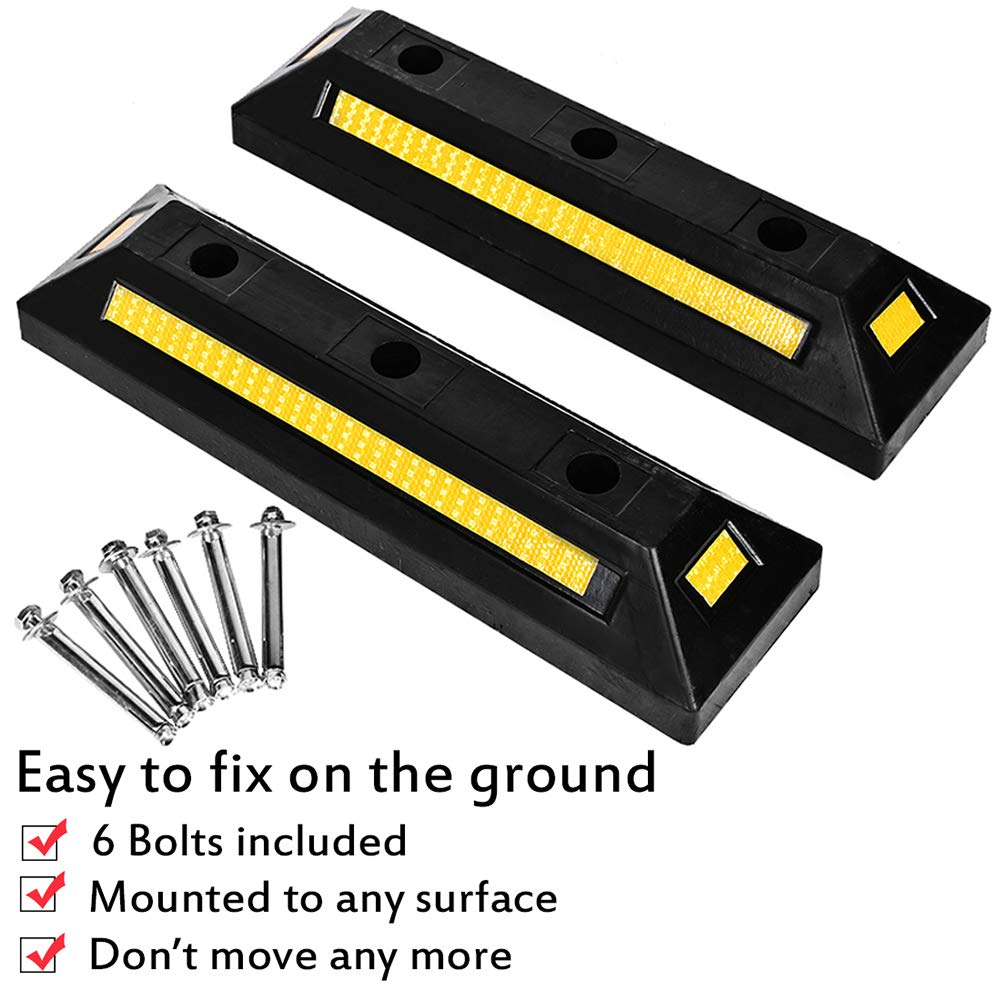 B BAIJIAWEI 2 Pack Heavy Duty Rubber Parking Guide Garage Wheel Stop with Yellow Reflective Stripes, Professional Grade Rubber Parking Target by B BAIJIAWEI (Image #1)