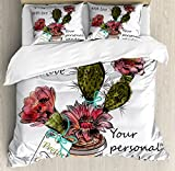 Cactus Duvet Cover Set Queen Size by Ambesonne, Sketch Prickly Pear Watercolor Style Exotic Tropic Succulent Plant for Window Garden, Decorative 3 Piece Bedding Set with 2 Pillow Shams, Multicolor