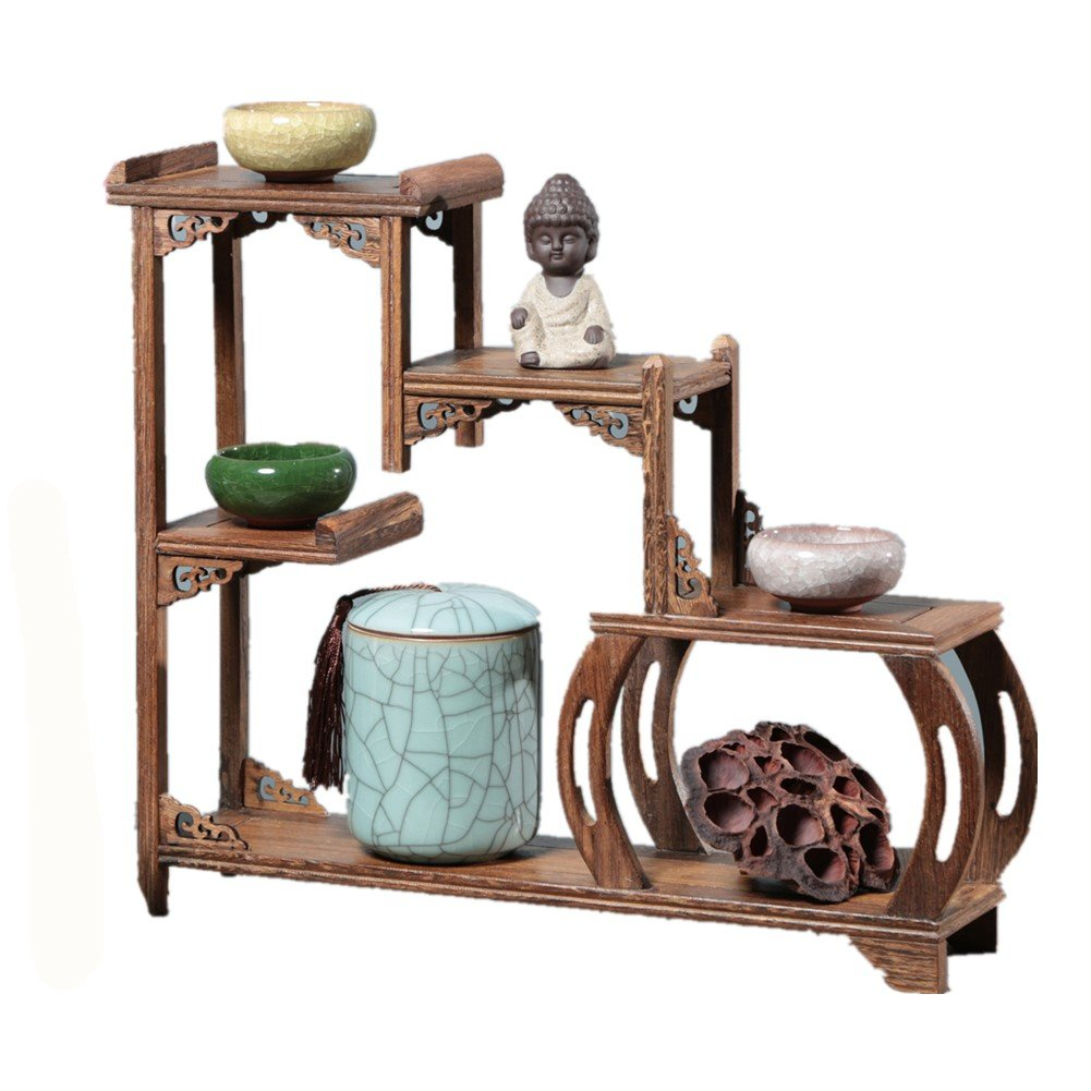 Chinese Wooden Curio Shelf Antique-and-Curio Display Stand Keepsakes Or Plant Shelving Unit XICHENGSHIDAI
