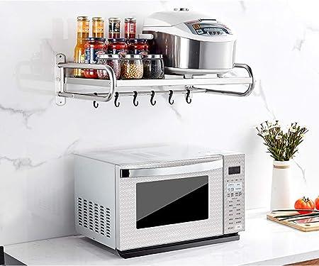 Scaffale per Cucina a microonde Forno a Rack Forno a Doppio Strato Multifunzione Scaffali a Parete in Acciaio Inox Scaffale da Cucina Dimensioni : 53CM*37CM