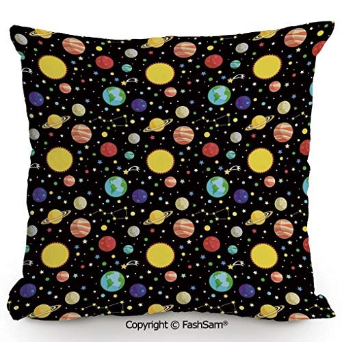 Polyester Throw Pillow Cushion Comets and Constellations Stars with Polka Dots Earth Sun Saturn Mars Solar System for Sofa Bedroom Car Decorate(18