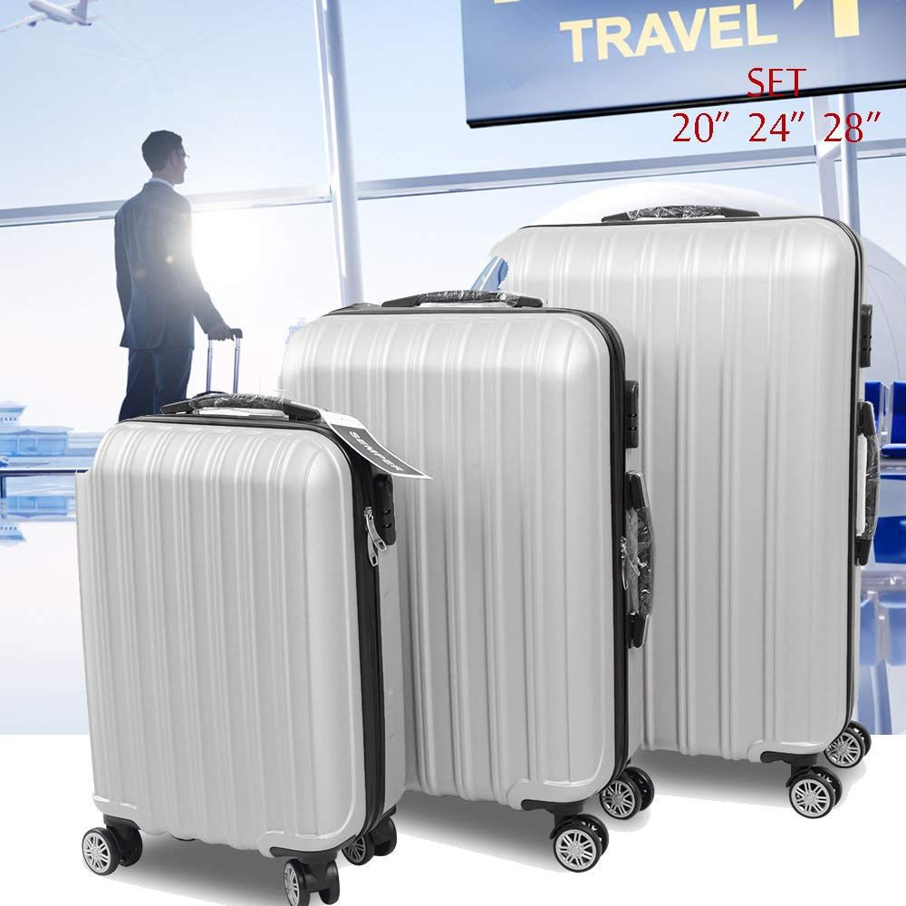 01c137778342 3 Pcs Luggage Set Trolley Spinner Suitcase Hardshell W/ 3 Covers 2 Coat  Hangers (Silver- 3 pcs)