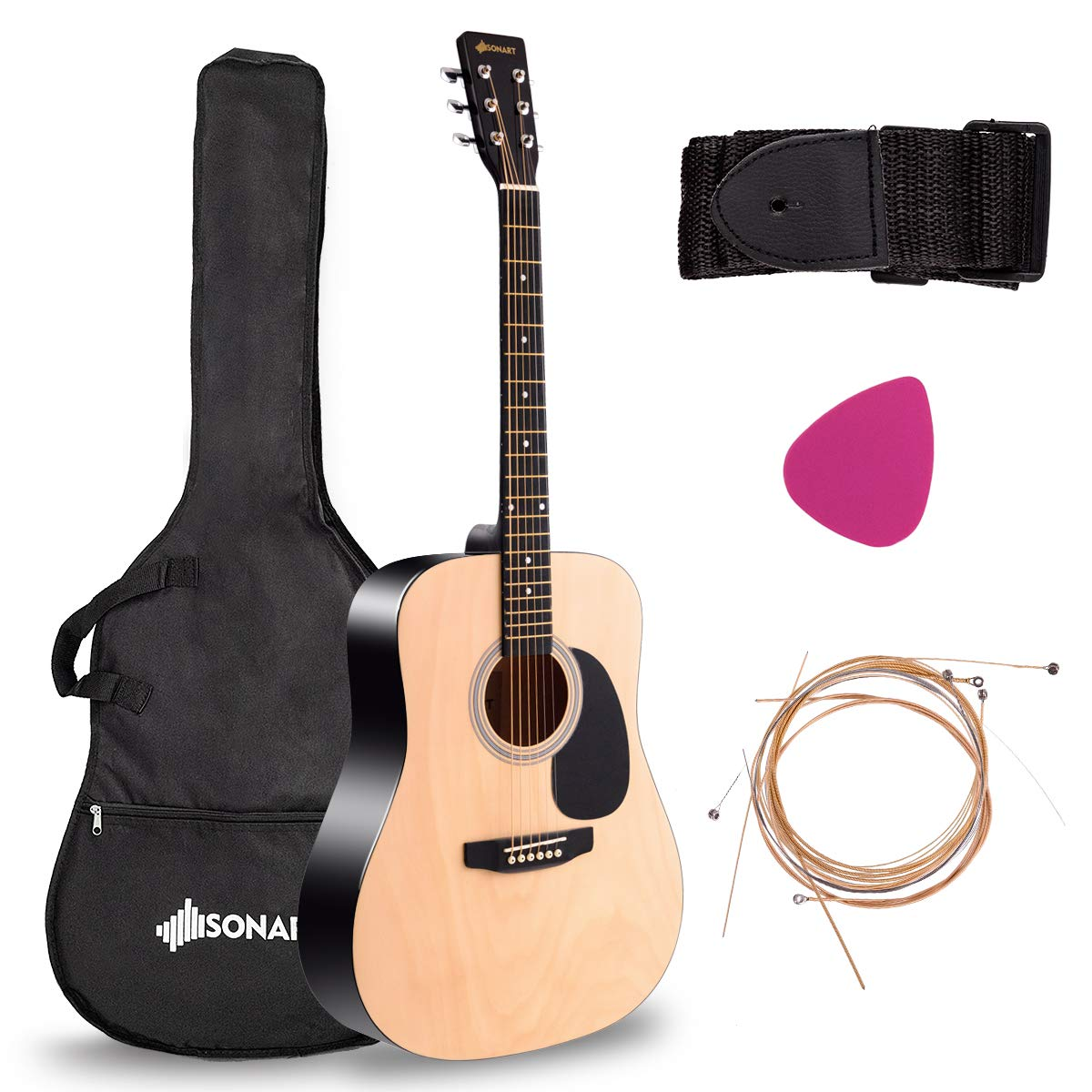"Sonart Full Size Acoustic Guitar, 41"" Wooden Structure Steel String W/Case, Shoulder Strap, Pick, Extra Strings for Beginners, Starters, Orange"